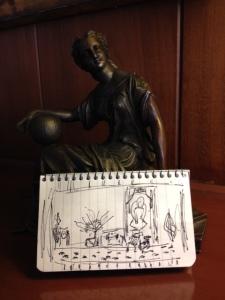Sketch of stage for Dalai Lama visit